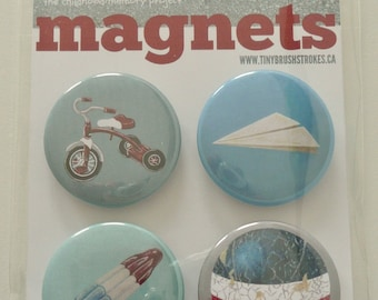 Nostalgic MAGNET Set No.1 ft ORIGINAL PAINTINGS from 100 tiny brushstrokes childhood memory project
