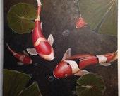 "Zen Koi Fish Painting ""Our Time""by Michael H. Prosper 20 x 20 canvas"
