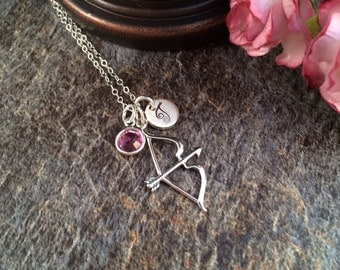 Bow and Arrow Necklace, Bow and Arrow Initial Necklace, Bow and Arrow Birthstone Necklace