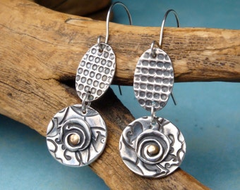 Eclectic Textures - Fine SIlver Earrings - PMC - Artisan Earrings