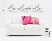Live Laugh Love Wall Decal - Live Laugh Love Wall Decor - Inspirational Wall Decals - Wall Decals for Living Room - Live Laugh Love Quotes