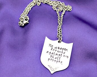 No Weapon Formed Against Me hand stamped necklace