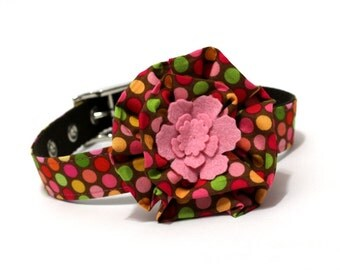 Dog Collar and Flower Set - Pink and Brown Dippin Dots