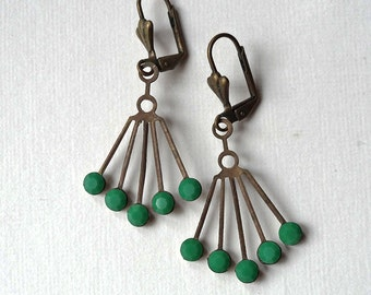 Fan Earrings in antique brass, dangle earrings, vintage green beads, art deco, vintage brass fans, romantic, gift under 20