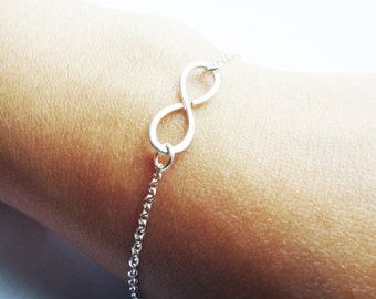 Sterling Silver Infinity Bracelet Hammered Textured Infinity Bracelet Hand