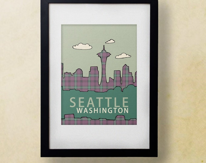 Seattle in Plaid // Modern Loft, Nursery Decor, City Skyline Poster, Typography Print, Giclee, Grunge Music, West Coast, 90s Flannel