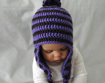 Crochet Baby Hat, Neon Purple Gray White Stripes, Newborn, EarFlap, Pom Pom, Made to Order, 3-6 Months, 6-12 Months, Baby Girl, Photo Prop