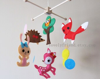 """Baby Crib Mobile - Baby Mobile - Jungle decorative Mobile - """"Little Yellow Chick and Happy Party in The Wood"""" (Pick your color)"""
