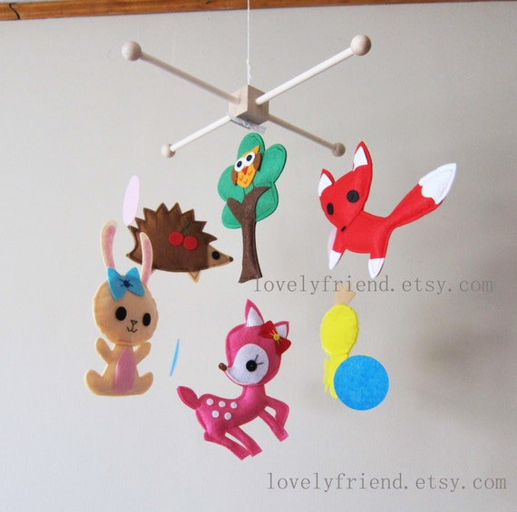 "Baby Crib Mobile - Baby Mobile - Jungle decorative Mobile - ""Little Yellow Chick and Happy Party in The Wood"" (Pick your color)"