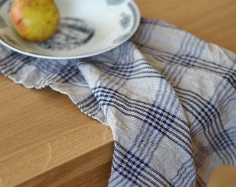 Plaid Tea Towel, Tartan Linen Towels, Checked Hand Towels Natural With Deep Blue Towels