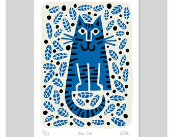Blue Cat by Lo Cole - Limited Edition Archival Print