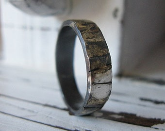 Rustic Mens Wedding Band Fine Silver with 18k White Gold Distressed Finish 5mm Width