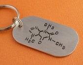 Caffeine Molecule Hand Stamped Keychain by TheCopperFox