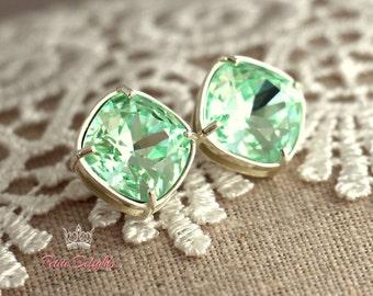 Mint stud earrings Mint Silver Posts Square crystal Stud earrings, Bridesmaids stud earrings, silver posts, gift for woman, silver earrings.