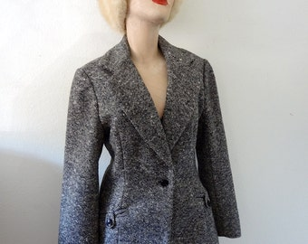 1970s Tweed Blazer / wool riding style jacket / preppy fall & winter fashion