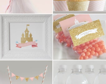 Princess Party Printable Decorations  // Birthday Party // Pink and Gold Glitter Collection