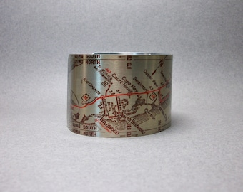 Atlantic City to Cape May New Jersey Vintage Map Cuff Bracelet Unique Gift for Men or Women