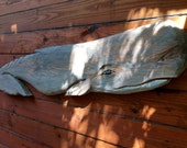 Rustic Sperm Whale 5ft. Antiqued charming chainsaw carving indoor or outdoor sculpture coastal living art decor saltwater carving mount art