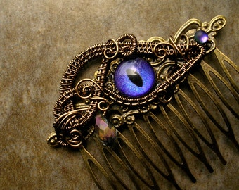 SOLD - Gothic Steampunk - Dragon Evil Cat Eye - Hair Stick Pin Pick - Bronze Wire - Lavender Purple Violet Color Shift Shimmer Teardrop