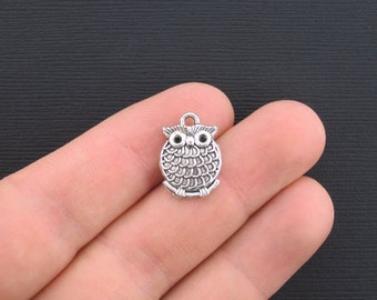 5 Owl Charms Antique Silver Tone 2 Sided - SC2974