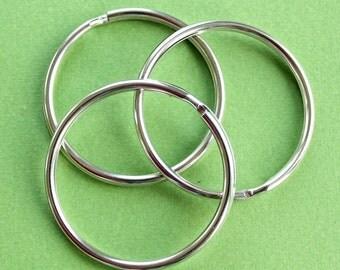 3 Key Chain Split Rings Silver - Large 57mm - 2 1/4 inch - Z57