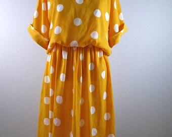 Goldenrod Yellow Polka Dot Dress