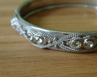 Vintage Silver Bangle Bracelet with Rhinestones // Romantic, Intricate Vintage Bracelet