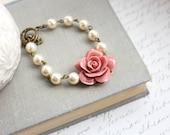 Dusty Pink Rose Bracelet Pearl Bracelet Floral Bridal Bracelet Country Chic Wedding Vintage Style Jewelry Romantic Bridesmaids Accessories