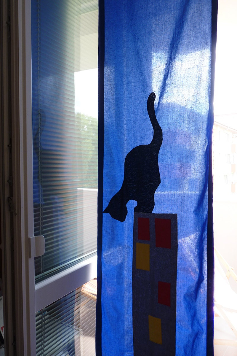 Black Cat Curtain Narrow Curtain Panel For Kids Window