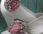 Shoe clips for wedding - bridal shoe clips - crystal shoe clips - rosette shoe clips - swarovski crystal wedding - weddings shoes