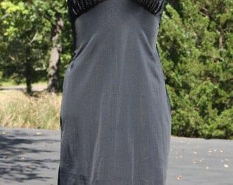 Vintage Full Slip Black With Lace Nylon Size 34