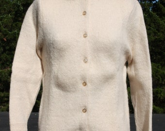 Vintage Mink Fur Collar Sweater Cardigan Off White Wool Mohair 50s - 60s