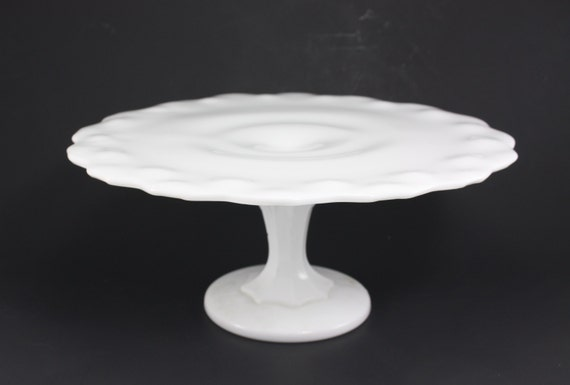 Vintage milk glass cake stand pedestal christmas holiday