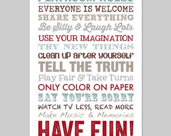 Playroom Rules, Playroom Decor, Playroom Art, Playroom Sign, Playroom Wall Art, Art for Playroom, Play Room Sign, Playroom Printable