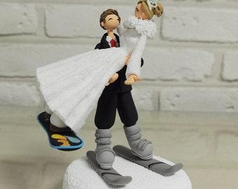 Snow Board Ski Custom Wedding Cake Topper Decoration Gift Keepsake