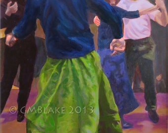 Green Skirt: Contra dance - signed limited edition art prints, cards, original art