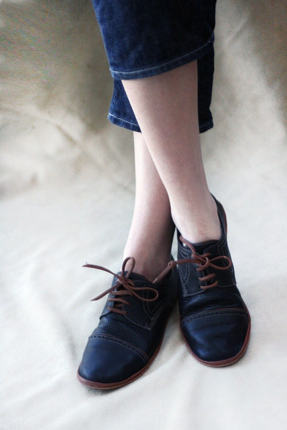Black and Brown Chaplin Shoes - Leather Women's Oxfords - CUSTOM FIT