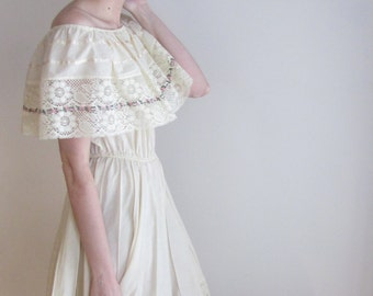 Cotton and Lace Peasant Dress / Handmade Boho Dress / The May Day Dress
