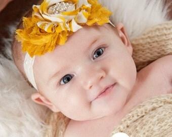 Baby headband,Baby girl headband,baby headbands,mustard yellow baby headband,newborn headband, shabby chic headband, flower headband.