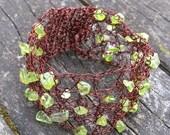 Copper, Brown, Rustic Red Bracelet, Fashion Wedding Bracelet - Hand Crochet Lace - Romantic bridesmaids Peridot gift- Green gemstone