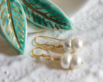 Boho Pearl Gold Filled Earrings, Handmade Bohemian jewellery, Bridesmaids Gift, Beach Weddings Party, Bride Bridal, Real White Pearls