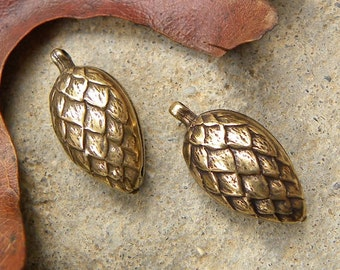 2 Pinecone Pendant Charms, Antique Gold, Trinity Brass, Great Quality, Double Sided 11 x 23mm