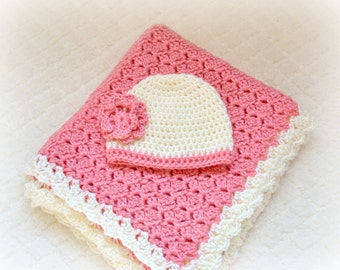 Crochet Baby Blanket Shell Stitch Stroller/Carseat/Travel Blanket and Beanie Set - Strawberry and Cream - MADE TO ORDER