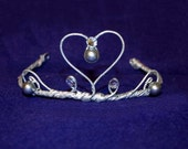 Pearly Princess Tiara - gray faux pearls rhinestones
