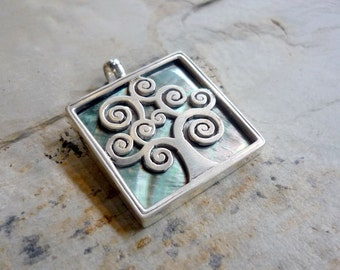 Silver Shell Pendant, Tree Carved Pendant, Tree Shell and Silver Pendant, Square Shell Pendant, Chunky Square Pendant, Tree Shell Pendant