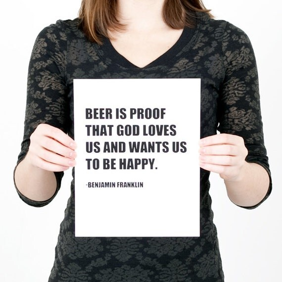 Ben Franklin Beer Quote: Benjamin Franklin Beer Quote Print Black And White By