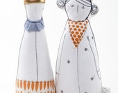 King and Queen dolls - Royal Couple soft sculpture dolls in gold crown ,orange dotted  scarf and  clothing-  timo  handmade eco fabric dolls