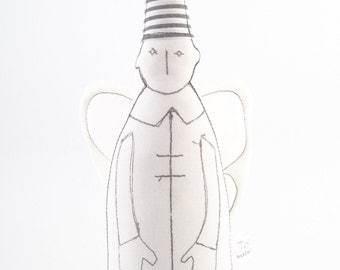 Minimalist Christmas angel - Black & White guardian angel with wings wearing pointy striped hat  - timohandmade fabric doll , eco ornament