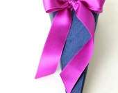 Flower Girl Cone shown in Navy Blue and Violet Purple. Large