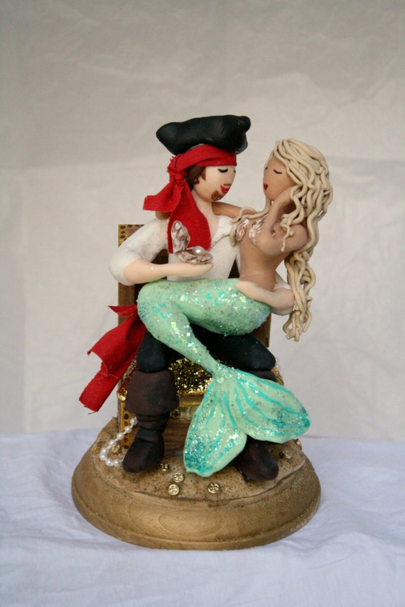 pirate ship wedding cake topper mermaid and pirate wedding cake topper customized by 18617